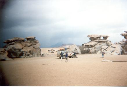 12 18 30-12-1999 bolivië bomen van steen in de woestijn op weg naar laguna colorado